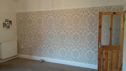 Feature wall papered